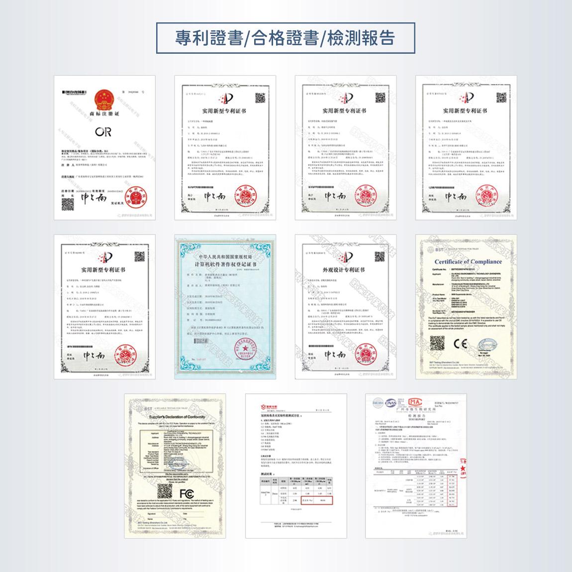 專利證書/檢測報告/合格證書