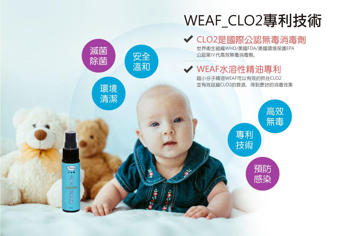 小寶貝Anti-viria防護噴霧-WEAF_CLO2專利技術